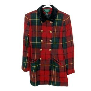 Lauren Ralph Lauren Vintage Plaid Coat Size 6 !